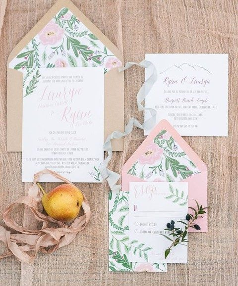 pink and greenery and flower invitations