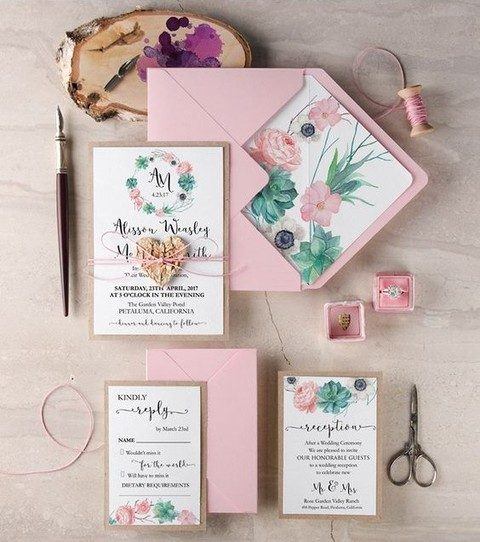 pink wedding stationary with succulents and pink flowers