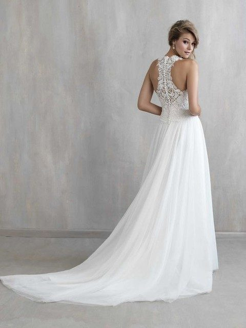 plain A-line wedding gown with a lace racerback and a train