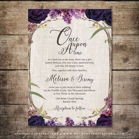 purple flower and herb wedding stationary