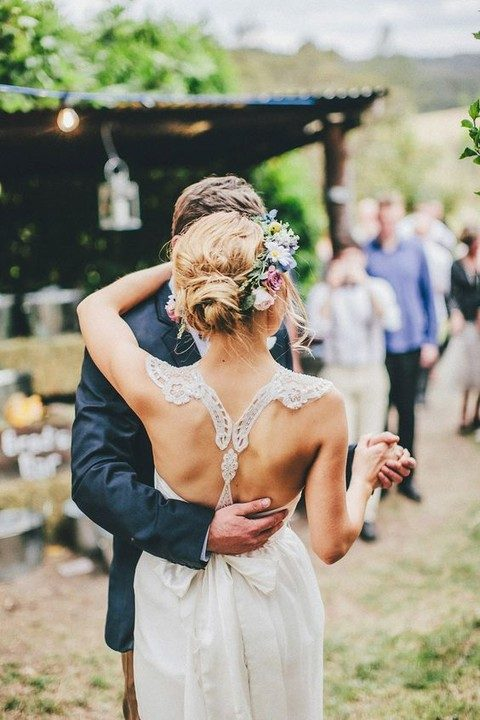 relaxed wedding dress with a crochet lace racerback