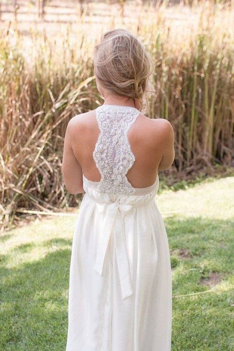 relaxed wedding gown with a lace beaded racerback