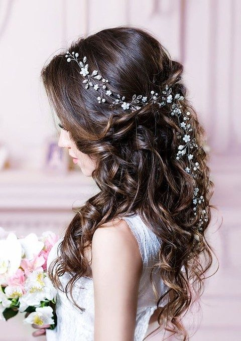 rhinestone and pearl hair vine looks refined