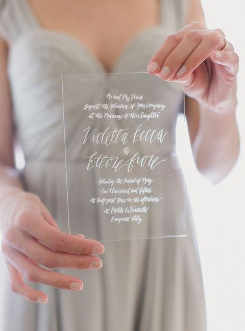sheer acrylic invitation with white calligraphy