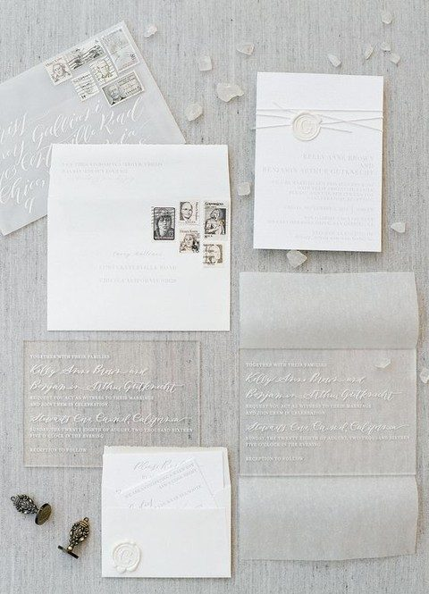 sheer acrylic invites and neutral envelopes