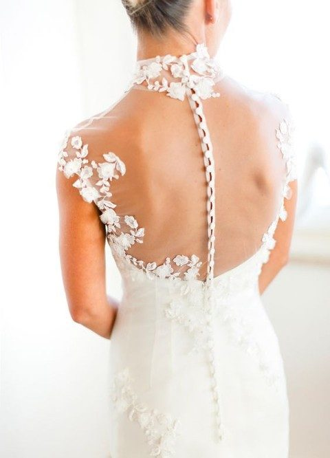 sheer back wedding dress with fabric covered buttons