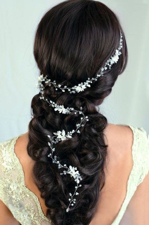 sheer beads and pearl flowers hair vine