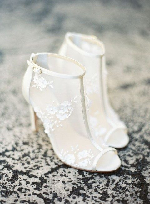 sheer ivory booties with peep toes and lace floral appliques