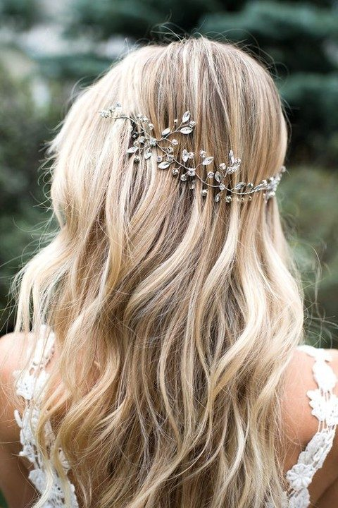silver and rhinestone hair vine