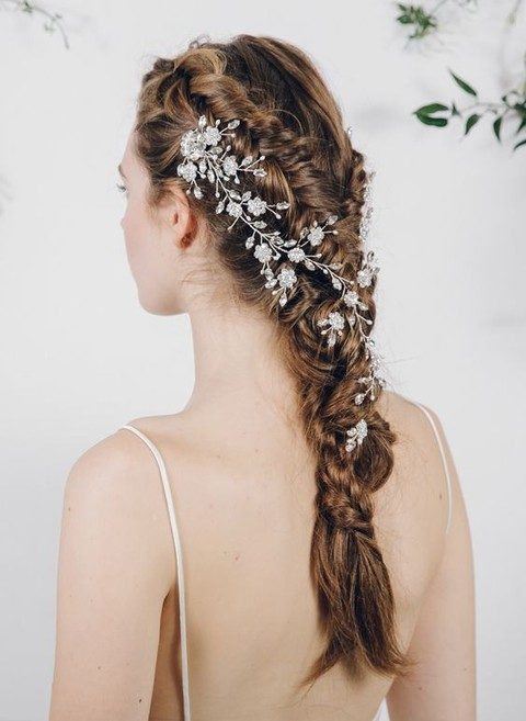 silver flower and rhinestone hair vine on a braid
