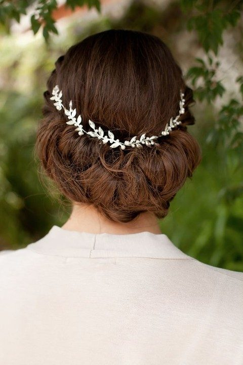 silver leaf hair vine with pearls
