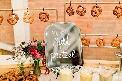 simple pretzel bar with metal stands
