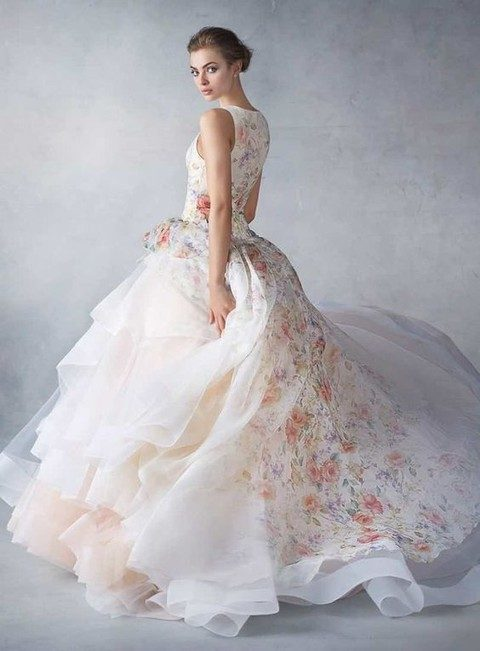 sleeveless floral print wedding dress with a layered skirt