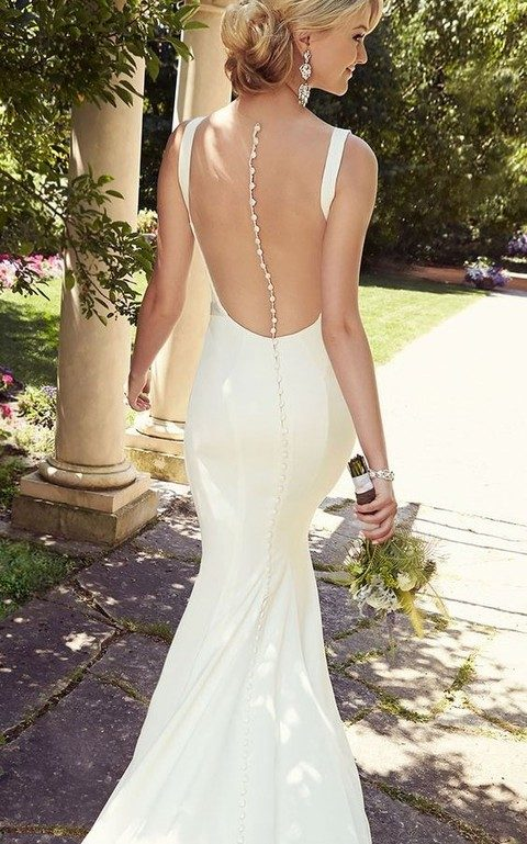 Slinky Wedding Gown With A Stunning Rhinestone Oned Down Sheer Back
