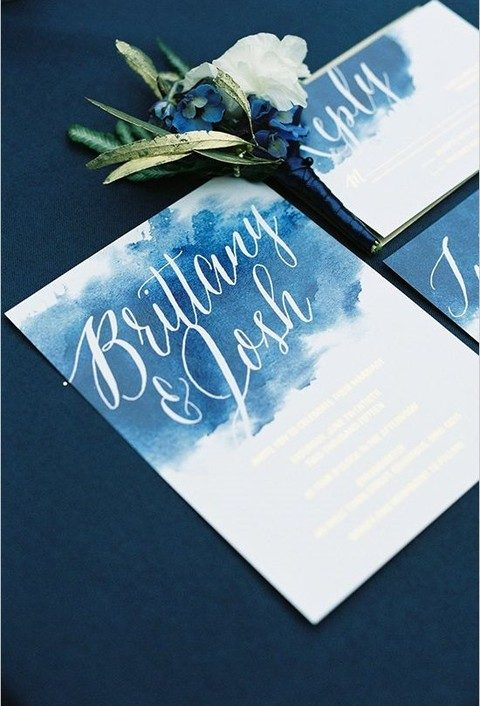 something blue themed wedding stationery