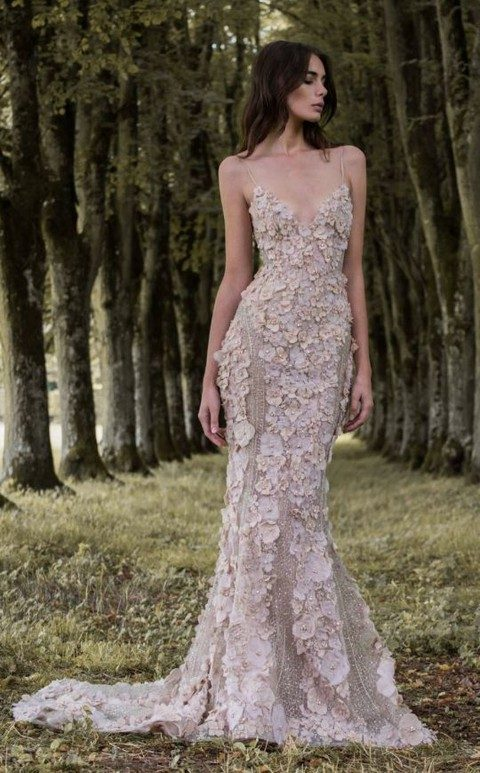 spaghetti strap floral applique wedding dress in blush