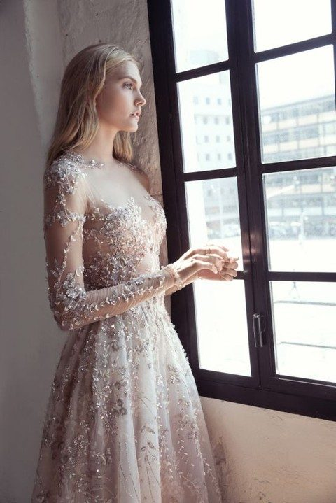 sparkling floral applique wedding dress with sleeves