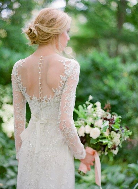 sparkling lace sleeve wedding dress with rhinestone buttons