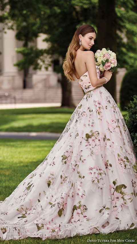 strapless romantic ballgown with pink flowers and green leaves