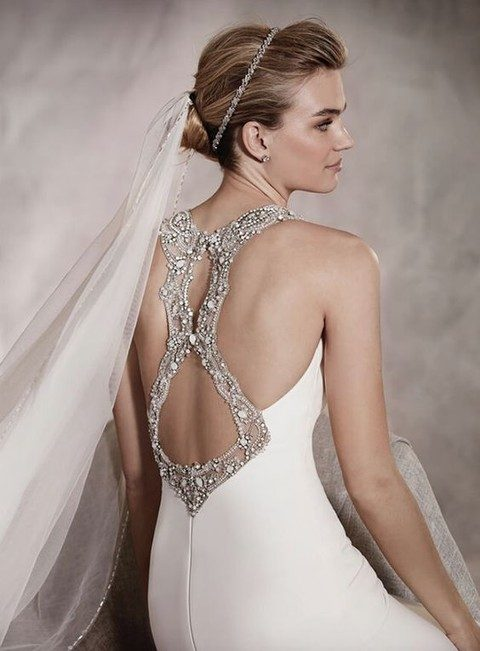 stunning jewel embellished racerback style wedding dress with cut outs