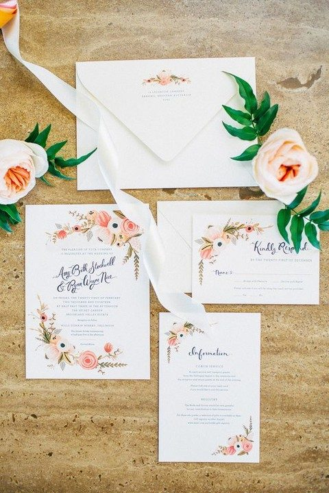 summer flower wedding stationary