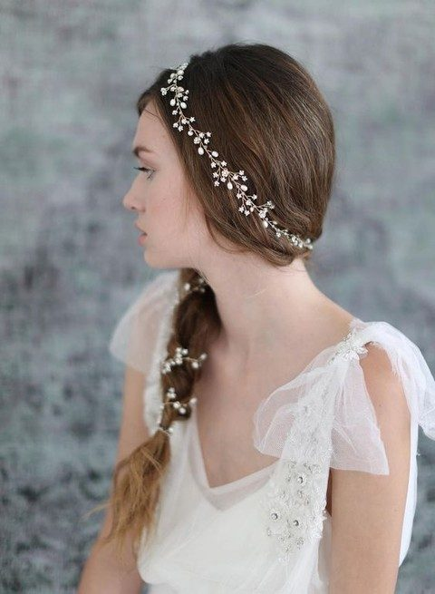 tine flowers and pearls hair vine all over the braid
