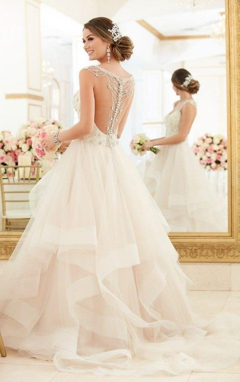 tulle layer ball gown with rhinestone detailing and buttons