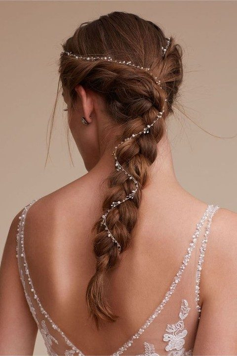 twinkling pearl hair vine on a braid