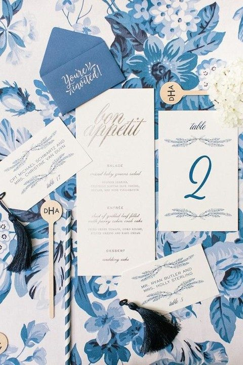 watercolor blue wedding stationary