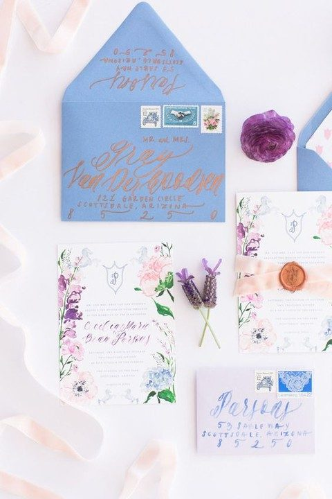watercolor flowers and blue envelopes for cool summer stationary