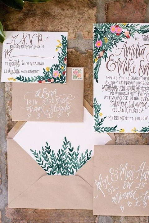 watercolor greenery and floral wedding invitations