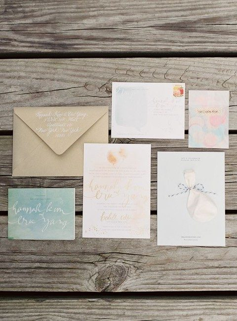 watercolor summer wedding stationary