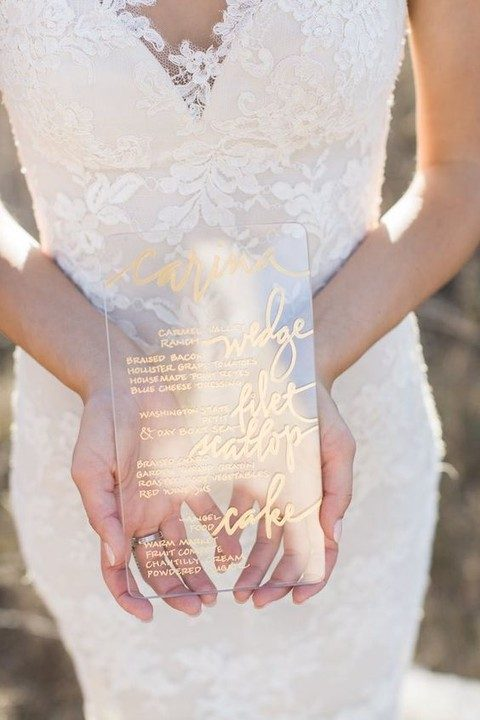 wedding menu with gold calligraphy looks very eye-catchy