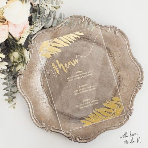 wedding menu with gold touches