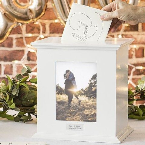 white finish card box with couple's photos