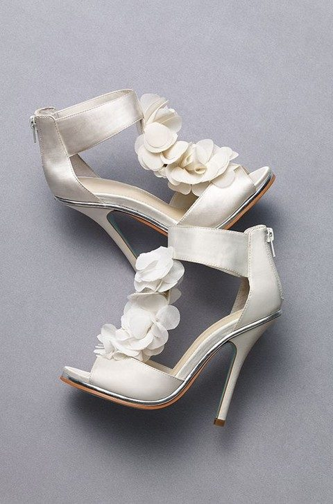 white shoes with ankle straps and zips, fabric flowers