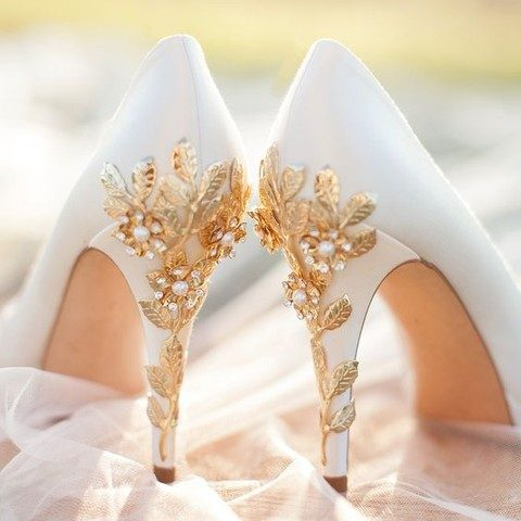 white shoes with gold leaves and cherry blossoms