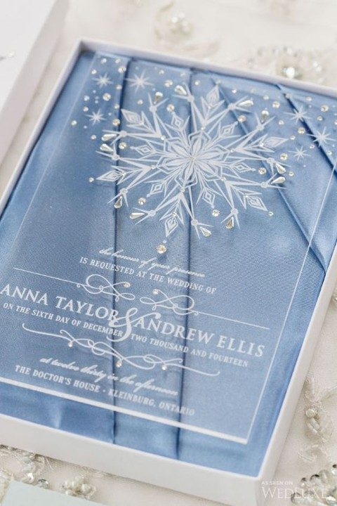 winter wedding invitation with snowflakes and rhinestones
