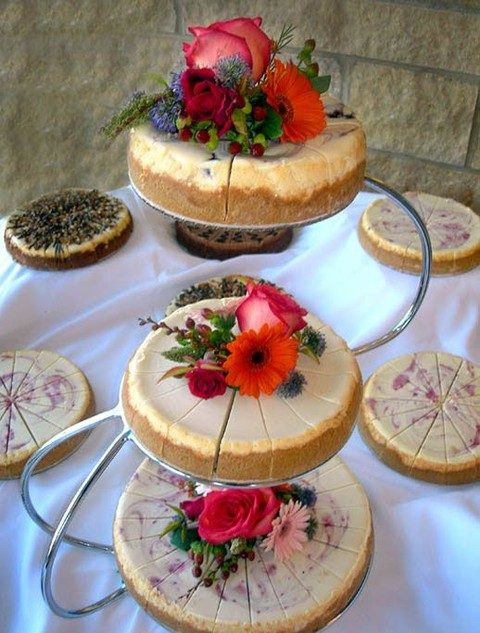 an assortment of various cheesecakes with berries