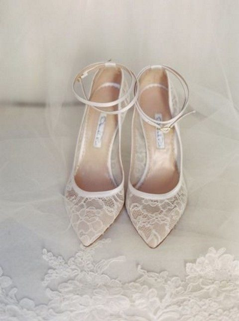 ankle strap ivory lace wedding shoes