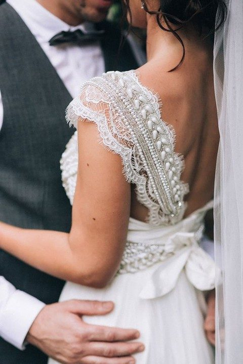 beaded lace thick strap for a wedding gown