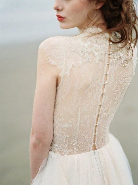 beaded up sheer lace back
