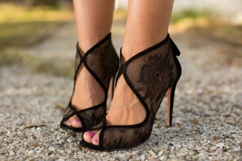 black lace booties with cutouts