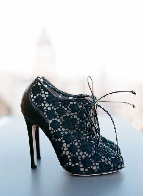 black lace peep toe booties with lacing