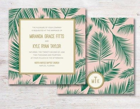 blush invites with green botanical prints