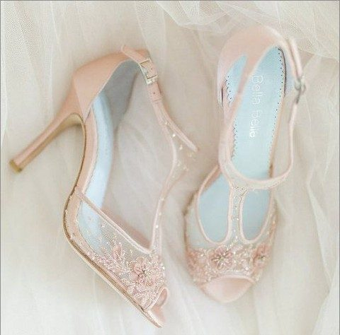 blush lace wedding heels with sparkling beads and cutouts
