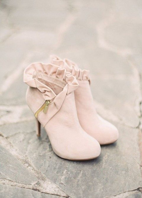 blush suede wedding boots with ruffles