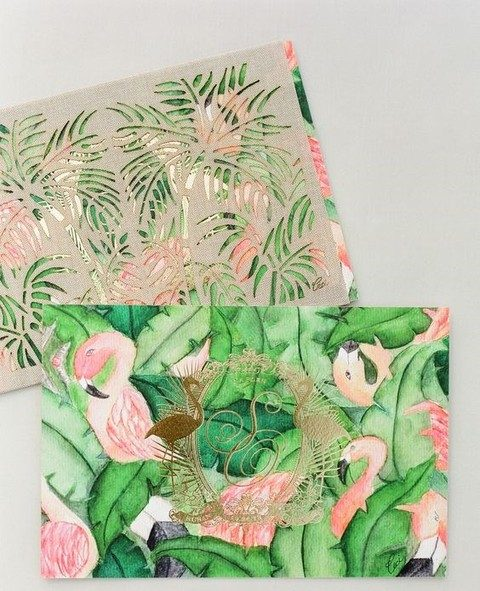 bold green leaves and pink flamingos for a whimsy suite