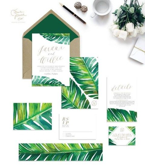 bold watercolor palm leaves