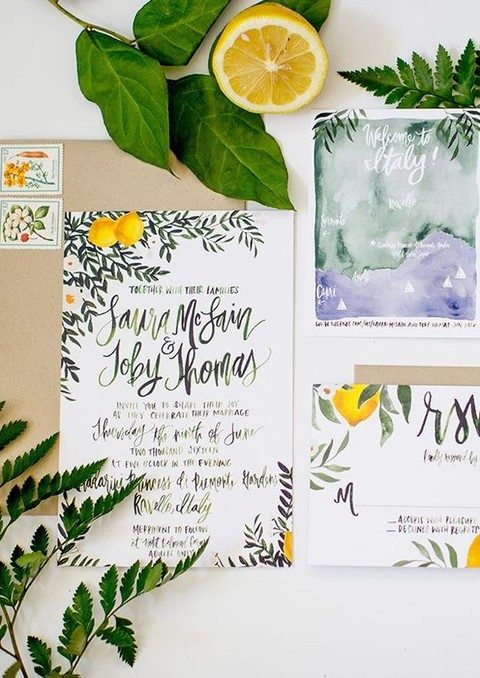 botanical prints and citrus for a tropical invitation suite